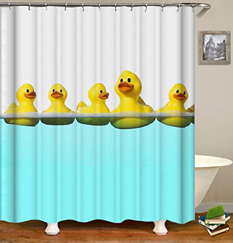 (OCCIGANT Animal Decor Shower Curtain,Cute Yellow Duck Swimming in The Tiffany Blue Water,Fabric Bathroom Set with Hooks,White Blue)