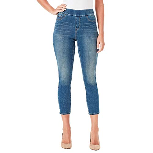Nine West Womens Heidi Pull-On Skinny Crop Jeans (Willow Blue, ()