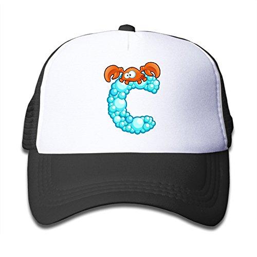 linna-kids-boys-girls-ocean-crab-alphabet-c-cotton-hats-running-snapback-cap-for-outdoor-sports-blac