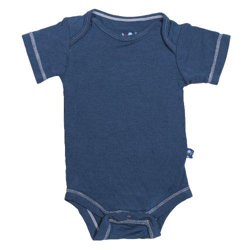KicKee Pants Baby Boys Short Sleeve Bodysuit Onesie, Twilight Blue-0-3 Months ()