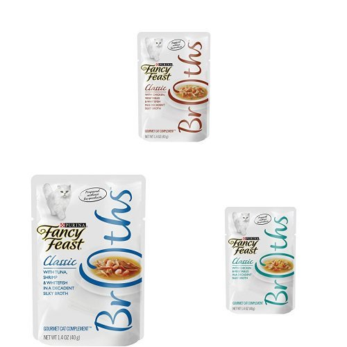 Purina Fancy Feast Broths Classic  Wet Cat Food Complement Bundle Pack - Singles - (48) 1.4 oz. Pouches by Purina Fancy Feast