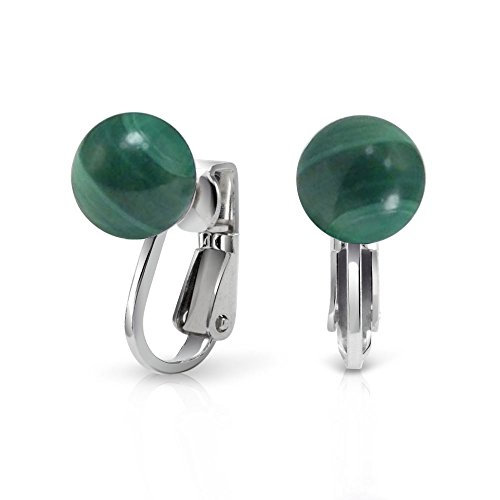 - Gemstone Green Malachite Round Ball Stud Clip On Earrings For Women Non Piercing 925 Sterling Silver