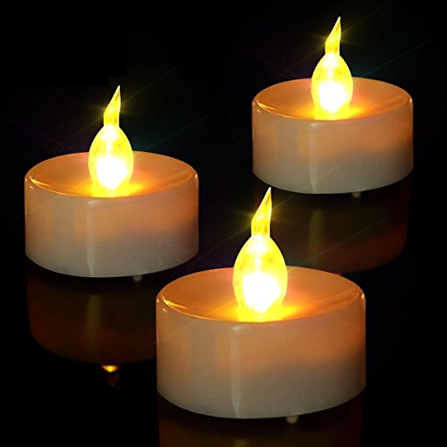 Tea Lights, Flameless LED Tea Lights Candles, Battery Powered Fake Candles,Warm Amber, Ideal for Wedding, Party , Christmas, Holidays, Home Decoration and Outdoor, Pack of 24