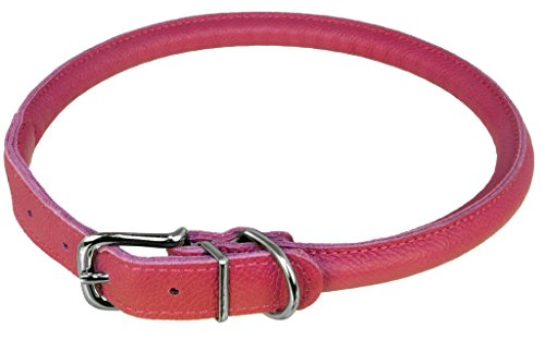 "Dogline Soft and Padded Rolled Round Leather Collar for Dogs W1/3"" -  L13""-16"", Pink"