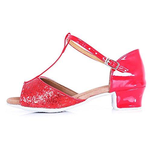 YFF Sala de Baile de Tango zapatos de baile latino mujer tacones bajos Red