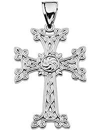 "Sterling Silver Eternity ""Khachkar"" Armenian Cross Pendant (Medium)"