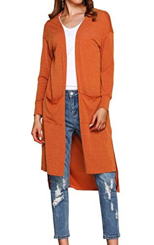 Hibluco Women's Casual Open Front Knit Long Cardigan Sweaters with Pockets (Medium, Orange)