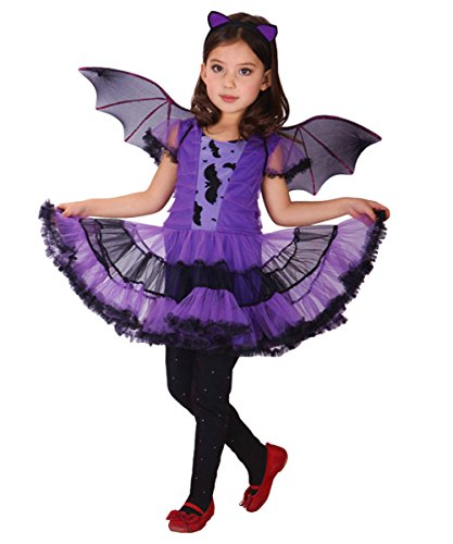Maybest Kids Girls Halloween Costume Lovely Fancy Dress Evil Demon Bat Wings Cosplay School Performance Birthday Party Bats (Little Rascals Halloween Costumes)