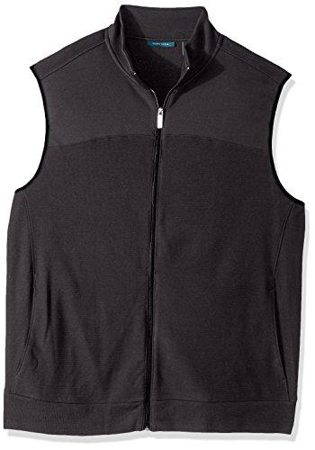Perry Ellis Men's Cotton Blend Full Zip Texture Knit Vest, Charcoal Heather, -