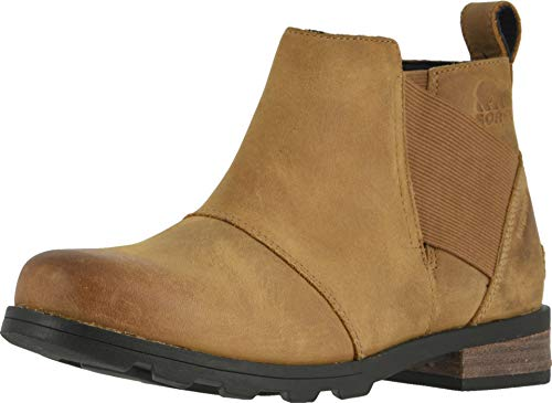 Sorel - Women's Emelie Chelsea Waterproof Ankle Boots, Camel Brown, 9 M US