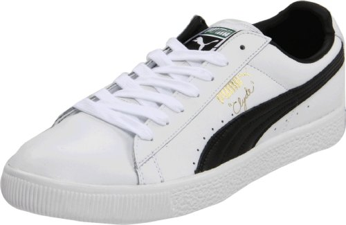 PUMA Clyde Leather Fs Lace-Up Fashion Sneaker,White/Black,7.5  D US