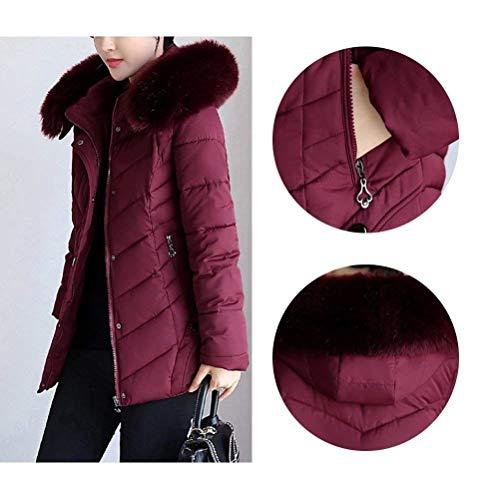 Con Donna Laterali Lunga Purple Fashion Tasche Manica Cappuccio Invernali Giacca Piumini Calda Hx wSaYxBCc