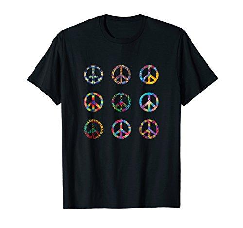 Hippy Tye Dye - Trippy Tye Dye Peace Sign | Retro Patterned T-shirt