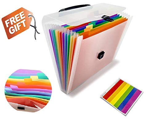 13 Pockets Plastic Expanding Accordion Folder Letter Size Portable Document Holder, A4 File Organizer Pockets-Handle Expandable Multicolor Manager Business Office Student with Handle & Label by WATBOB