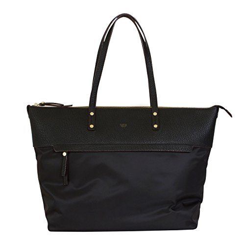 tutilo-tonality-two-tone-top-zip-tote-handbag-with-removable-pouch-black