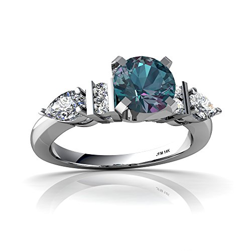 14kt White Gold Lab Alexandrite and Diamond 6mm Round Engagment Ring - Size 8.5 (14kt Alexandrite Ring)