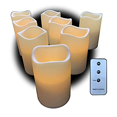 Set of 8 Outdoor 3x4 Waterproof Resin Candles with Timer and Remote and C Batteries Included