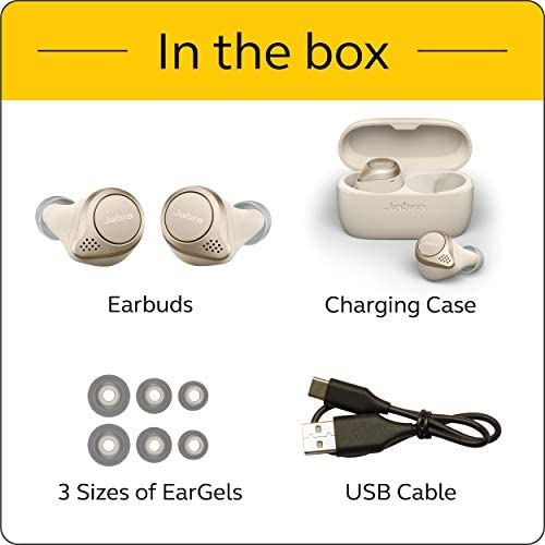 Jabra Elite 75t Earbuds – True Wireless Earbuds with Charging Case, Gold Beige – Active Noise Cancelling Bluetooth Earbuds with a Comfortable, Secure Fit, Long Battery Life, Great Sound