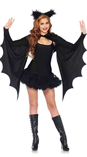 Easy Costume For Halloween Adults (Leg Avenue Women's Cozy Shrug and Bat Ear Headband, Black, One)