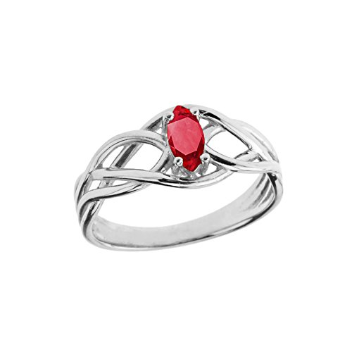 Ruby Celtic - Exquisite Sterling Silver Ruby Celtic Knot Engagement/Promise Ring (Size 12)