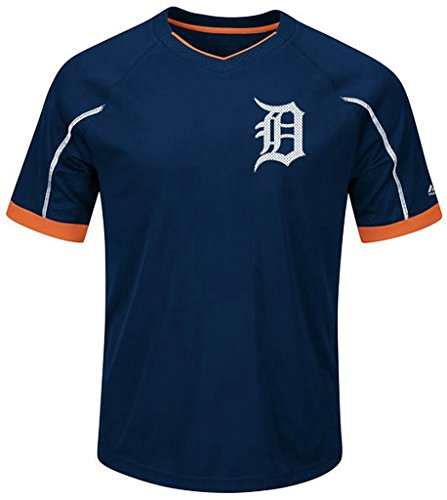 Detroit Tigers MLB Mens Majestic Cool Base Emergence Shirt Navy Blue Big & Tall Sizes (XLT) - Tigers Navy Blue Mesh
