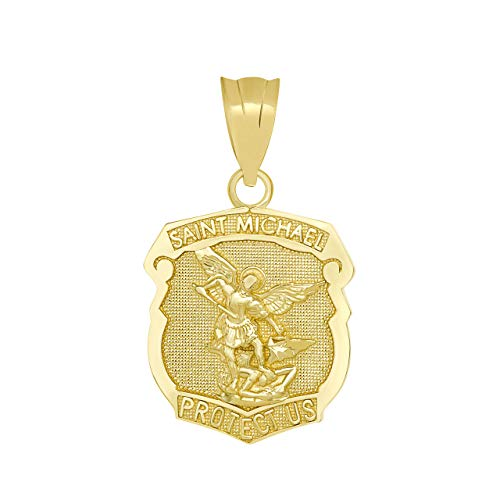 - Solid 14k Yellow Gold Saint Michael Shield Medal Protection Charm Pendant