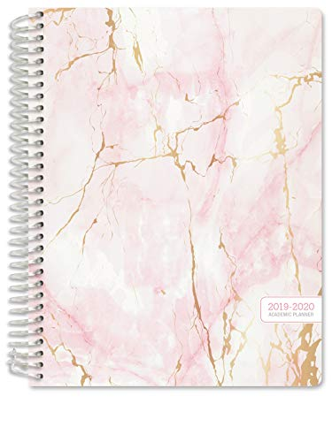 "HARDCOVER Academic Planner 2019-2020: (July 2019 Through July 2020) 8.5""x11"" Daily Weekly Monthly Planner Yearly Agenda. Bonus Bookmark, Pocket Folder and Sticky Note Set (Pink Marble)"