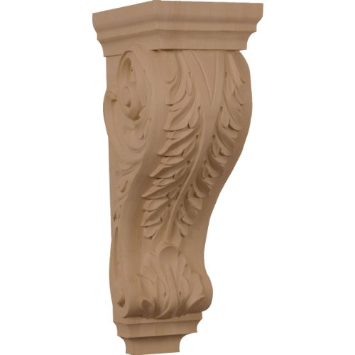 Acanthus Wood Corbel (Ekena Millwork CORW06X08X18ACRO 6-Inch W x 7 1/2-Inch D x 18-Inch H Extra Large Acanthus Wood Corbel, Red Oak)