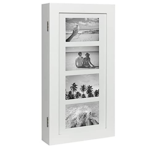 Best Choice Products Wall Mounted Jewelry Armoire Cabinet Organizer W/ 4 Picture Frames White