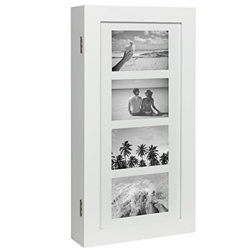 Best Choice Products Wall Mounted Jewelry Armoire Cabinet Organizer W/ 4 Picture (Hanging Jewelry Box Frame)
