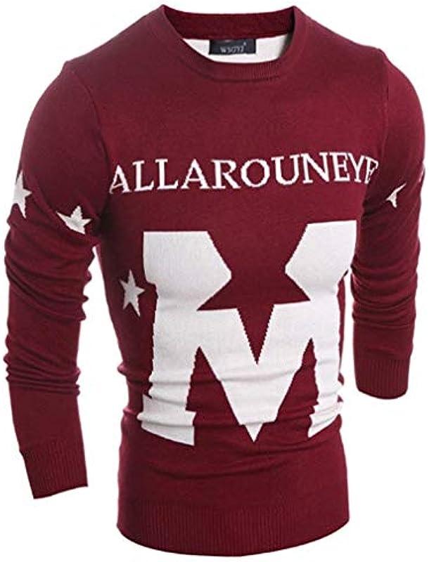 Saoye Fashion męski sweter z długim rękawem casual okrągły dekolt kolt sweter ubranie litera nadruk sweter dziergany: Odzież