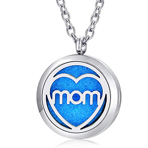 Heart Love Essential Oil Diffuser Necklace Stainless Steel Locket Pendant with 16 Pads (Mom)
