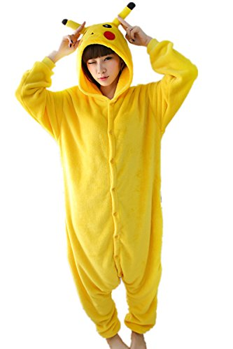 kxry Flannel Onesies Pajamas Unisex Adult Pikachu Pokemon Cosplay Costume (Small)