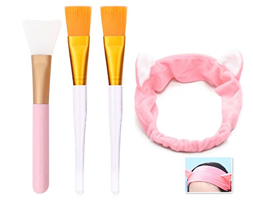 Mask Brush Application (Facial Mask Brush - Professional Quality Soft Face Brushes Hair Band for Applying Facial Mask ,Face Mud Mask Mixing Brush Cosmetic Silicone Facial Applicator, Silicone Brush, Eye Mask, or DIY Need (1))