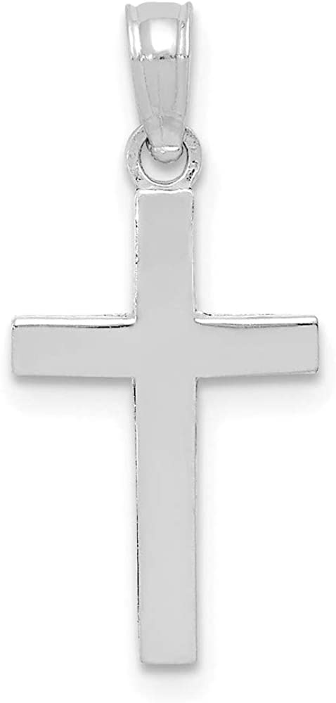 10k White Gold Cross Religious Pendant Charm Necklace Latin Fine Jewelry Gifts For Women For Her