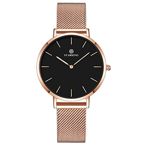 STARKING Women's Minimalist Ultra Thin Rose Gold Watch BL0997 Analog Quartz Stainless Steel Mesh Watch ... ()