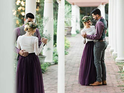 Blackberry Tulle Skirt Long Engagement Bridesmaids Floor Length Dress, Tulle Skirt Bridal, Tulle Skirt Wedding Long Purple