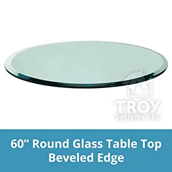 60u0026quot; Inch Round Glass Table Top, 1/2u0026quot; Thick, Beveled Edge