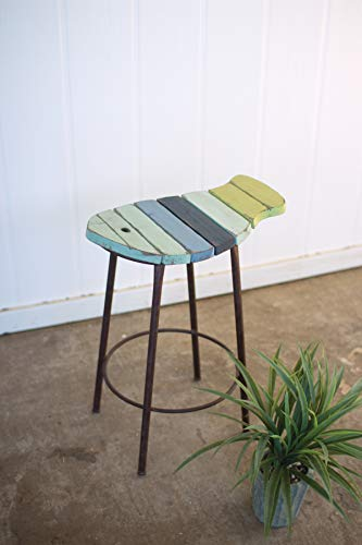 Kalalou Painted Wood and Metal Fish Counter Stool, One Size, Multicolored
