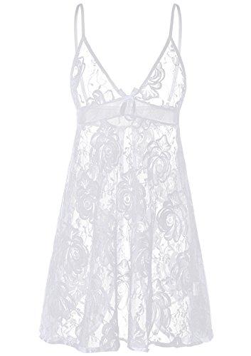 ADORNEVE Women Full Slip Lace Chemise Sleepwear Backless Nightwear Outfit