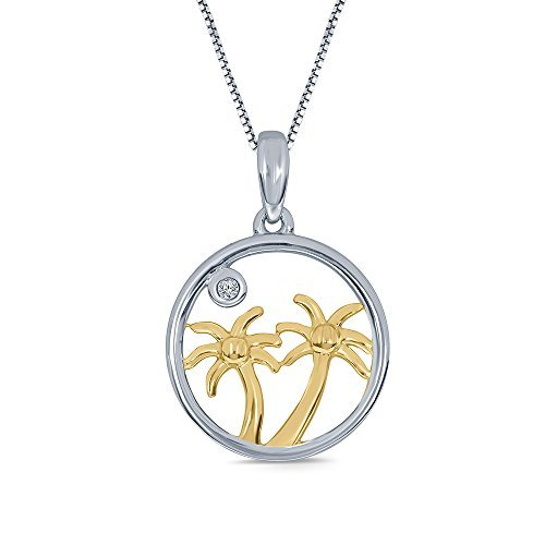White Diamond 14K Yellow Gold Plated 925 Sterling Silver Palm Tree Pendant ()