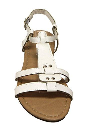 Bella Marie Maggie-11 Kvinners Åpen Tå Tapp T-stropp Slingback Justerbar Spenne Ankel Sandaler Hvite