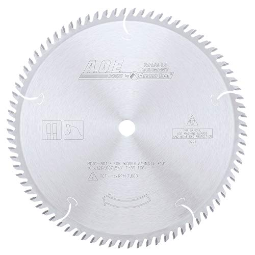 A.G.E. Series by Amana Tool MD10-801 Plywood/Laminate 10-Inch Diameter by 80-Teeth by 5/8-Inch Bore, Triple Chip Grind Carbide Tipped Saw Blade ()