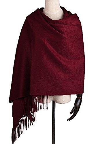 Women Soft Cashmere Wool Wraps Shawls Stole Scarf - Large Size 78'x 28' (DarkRed)