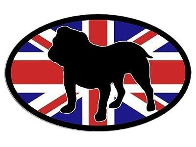MAGNET OVAL Union Jack ENGLISH BULLDOG Magnetic Sticker (bull dog breed)
