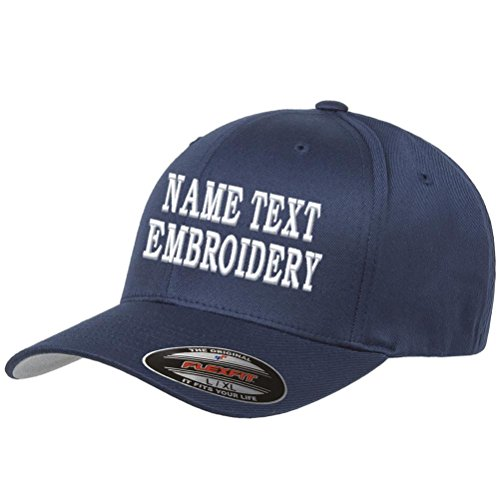 Custom Embroidery Hat Personalized Flexfit 6277 Text Embroidered Baseball Cap - Navy - Hat Basketball Embroidered