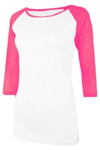 TL Women's 3/4 Sleeve or Short Sleeve Stretchy Raglan Baseball T-shirt Top 00PS_WHT_NPINK - Baseball Womens Sports T-shirt