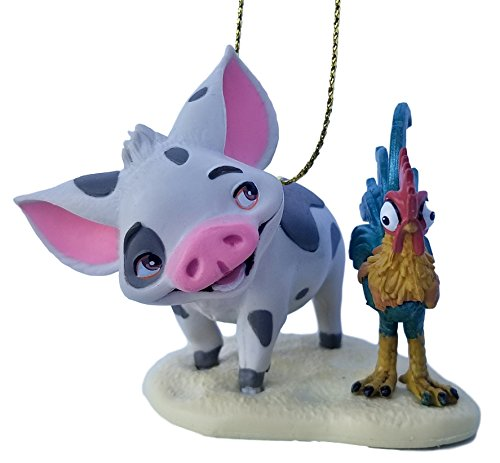 Pua and Heihei (Moana) Pet Pig and Rooster Figurine Holiday Christmas Tree Ornament - Limited Availability