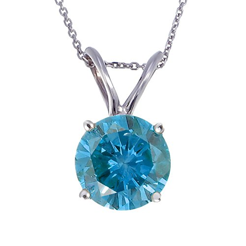 1.38 CT Blue Diamond Solitaire Pendant 14K White Gold (SI1-SI2 Clarity)