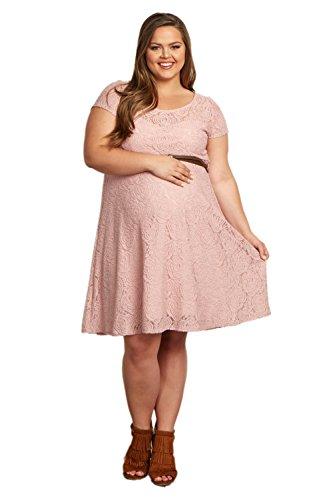 PinkBlush Maternity Pink Lace Belted Plus Size Dress, 3X